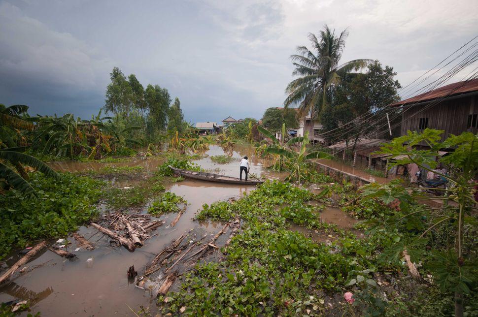 Boat in flooded area, Prek Leap