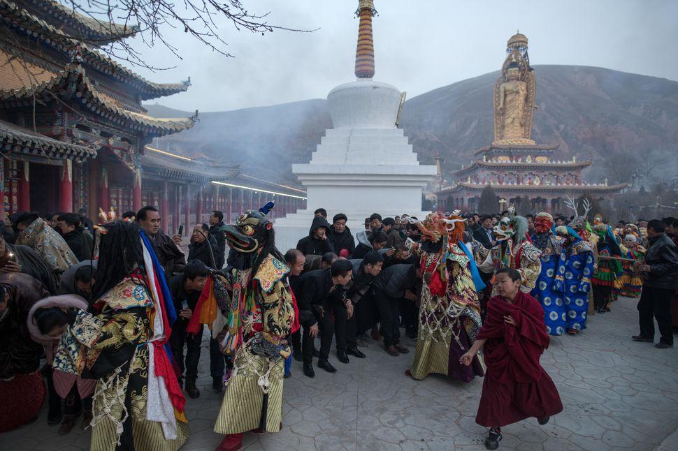 Cham dance in Sengshong Gaden Phuntsok Choeling Monastery, Rebgong, Qinghai