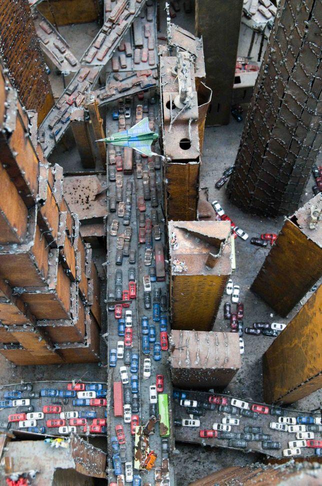 Shanghai aerial view (Zhong Kangjun installation) 1