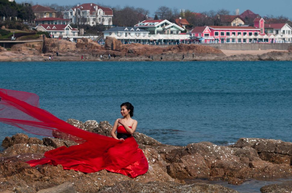 Woman in red 2, Qingdao