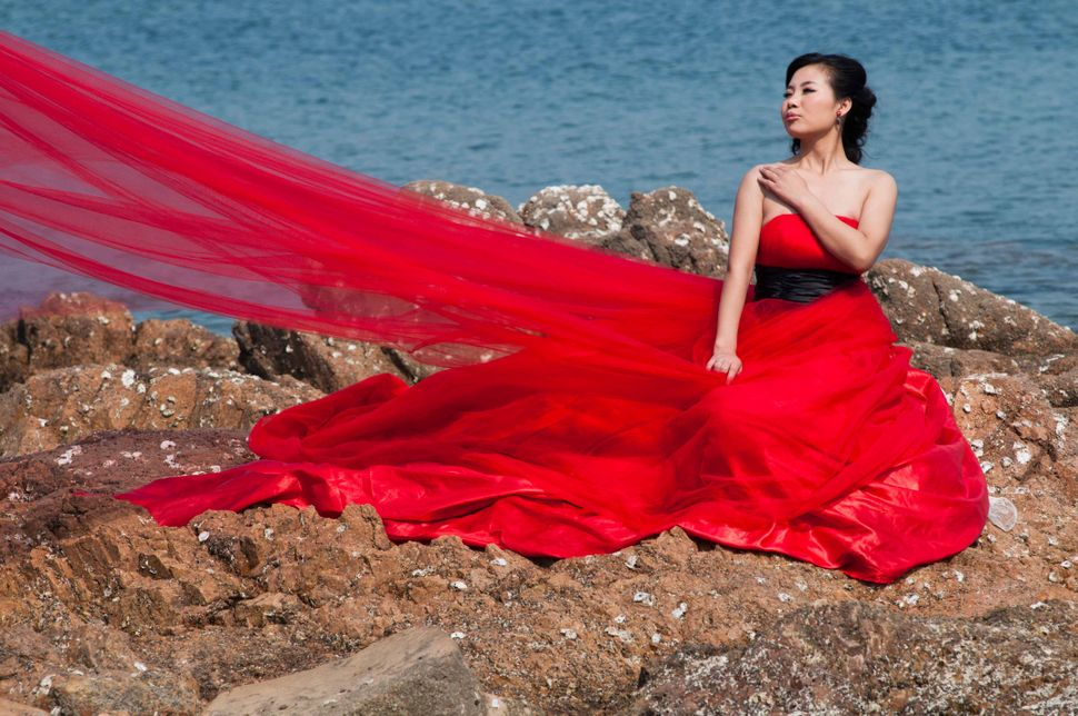 Woman in red, Qingdao