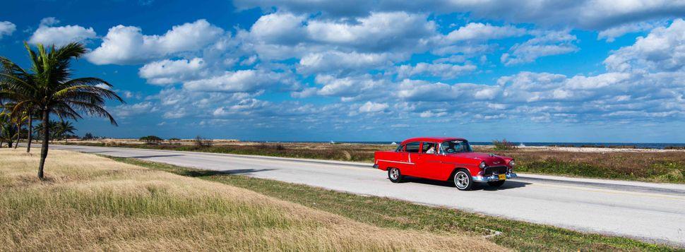 Red classic car at Marina Hemingway