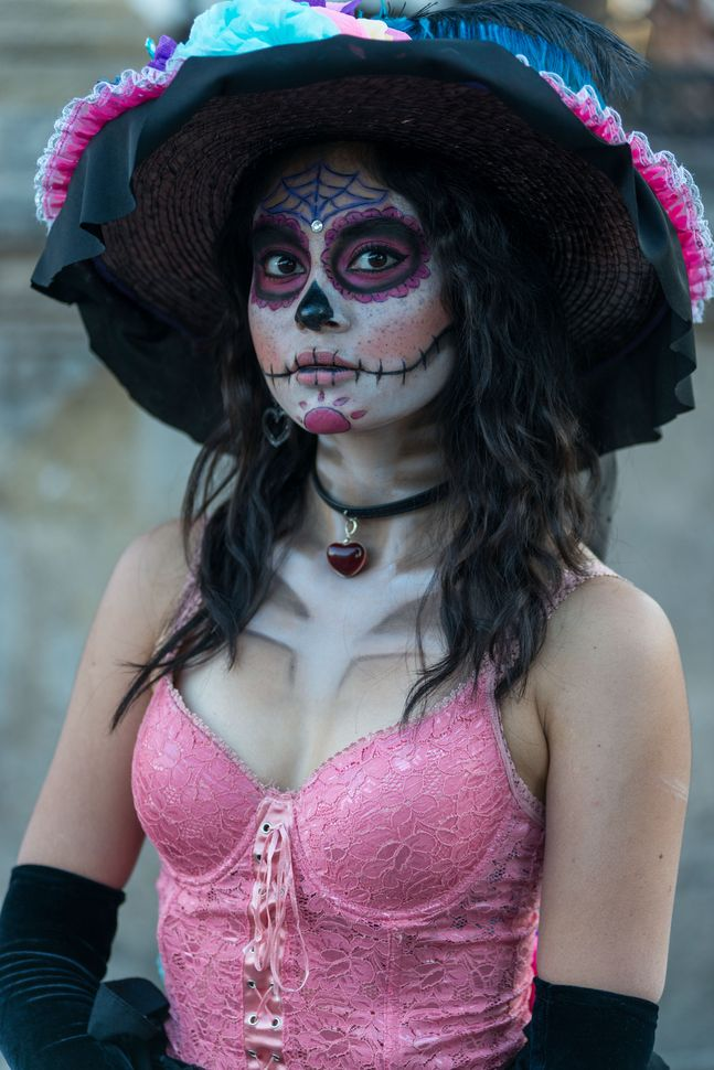 Girl in Catrina mask, Guadalajara, 2