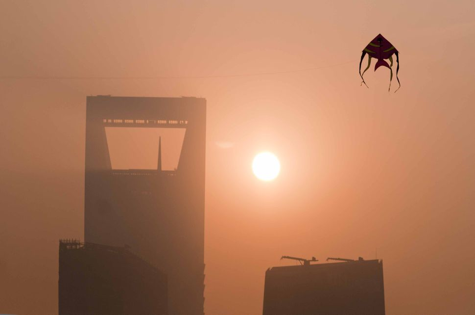 Kite in the Pudong sunrise