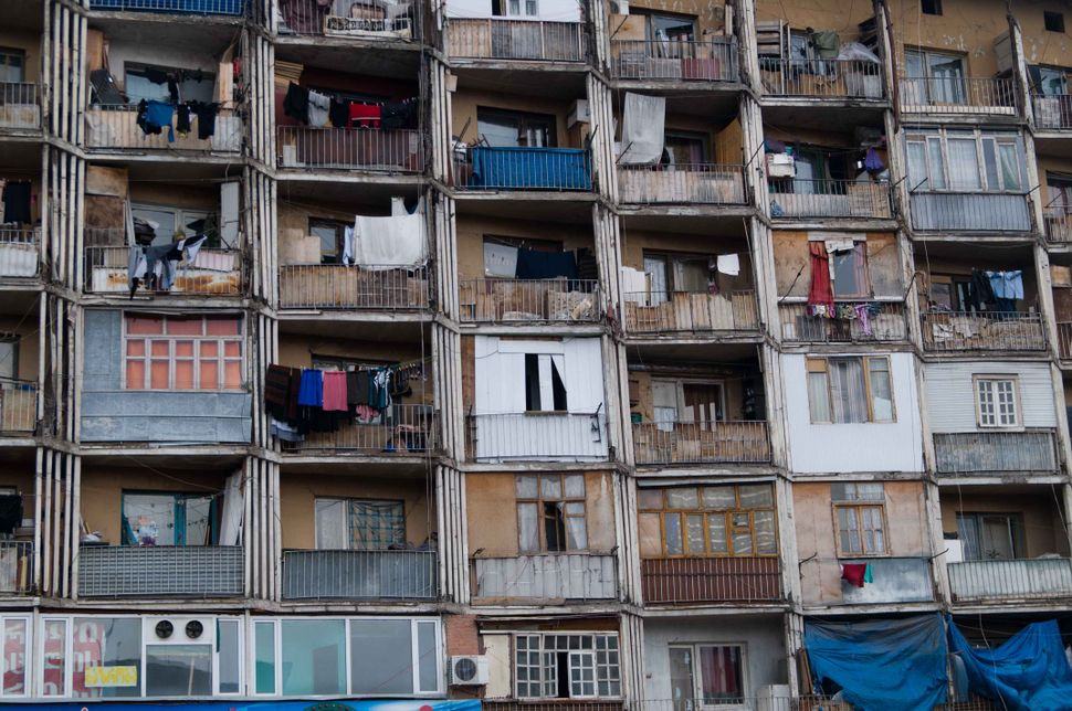 Balconies in block inhabited by refugees from Abkhazia, Tbilisi