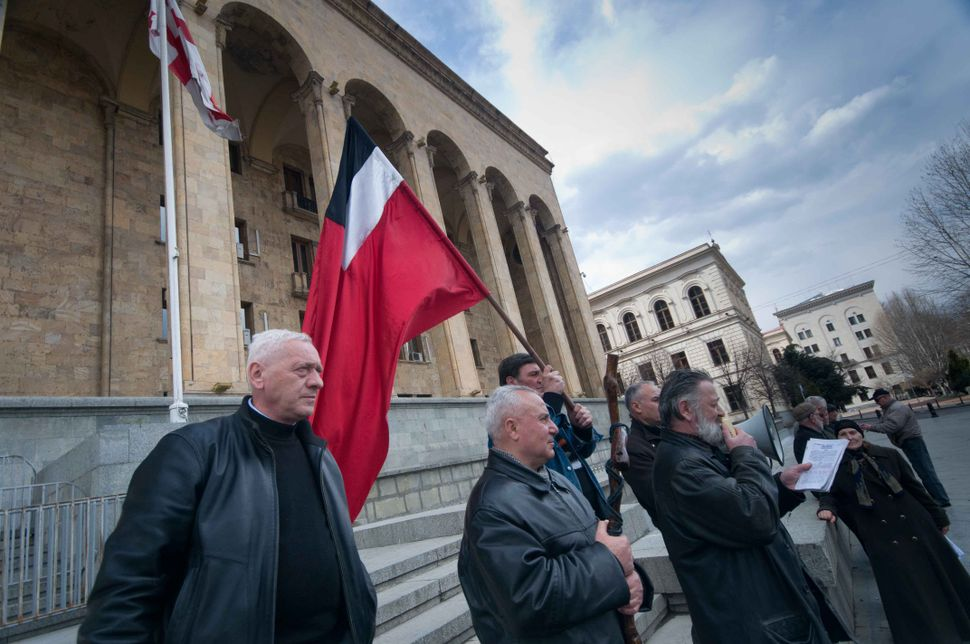 Supporters of Zviad Gamsakhurdia's party demonstrating in front of of Parliament Building 2