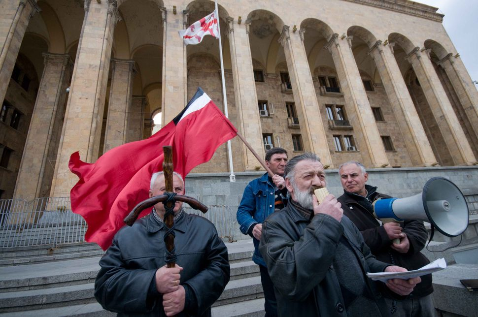 Supporters of Zviad Gamsakhurdia's party demonstrating in front of of Parliament Building