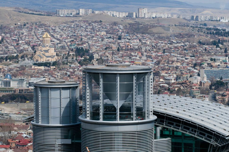 Tbilisi city view with Ivanishvili residence in the foreground