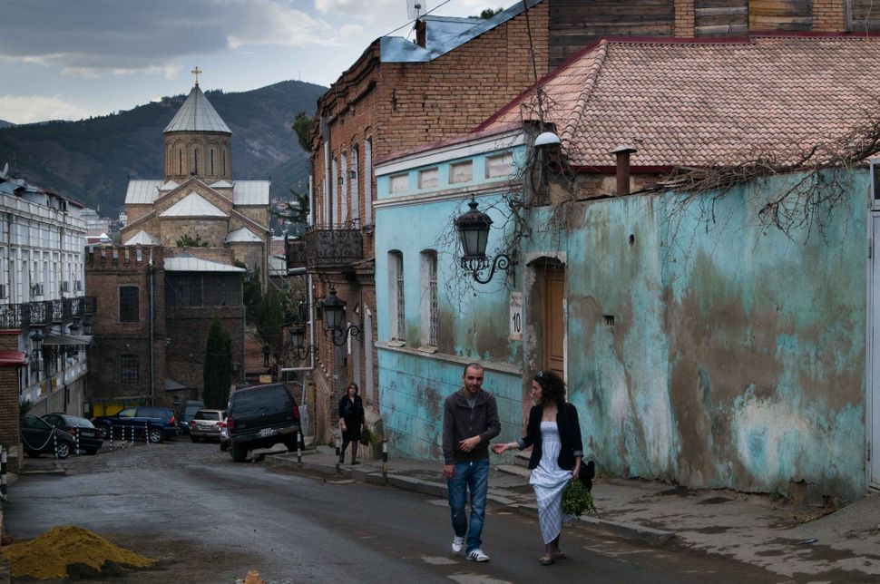 Young Armenian couple coming from Easter Mass, Tbilisi