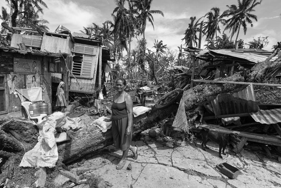 Women among the debris