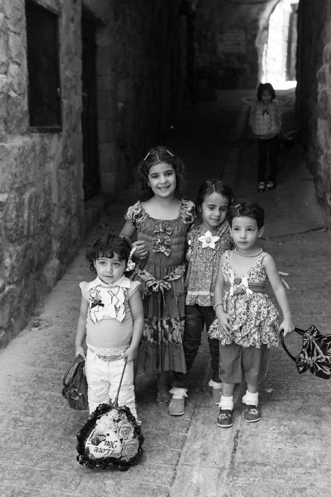 Palestinian girls on the streets of Hebron on Eid day 2