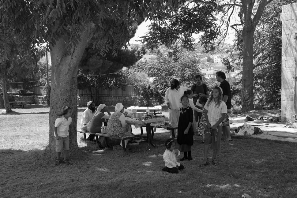 Picnic in the park reserved to Jewish settlers in front of the Cave of the Patriarchs