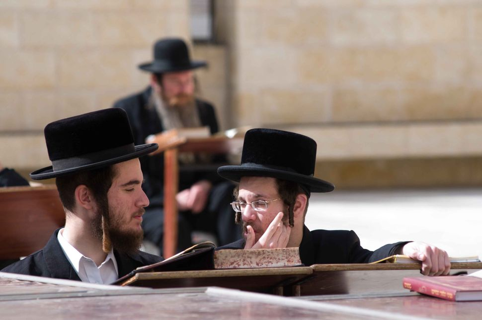 Orthodox Jew discussing the Torah at the Wailing Wall