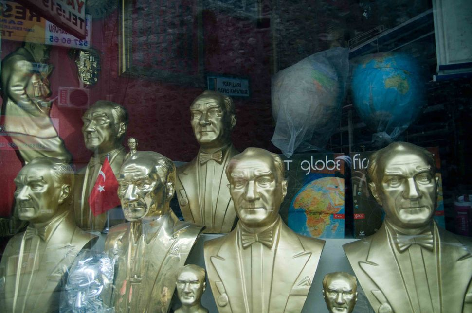 Atatürk busts in a shop window