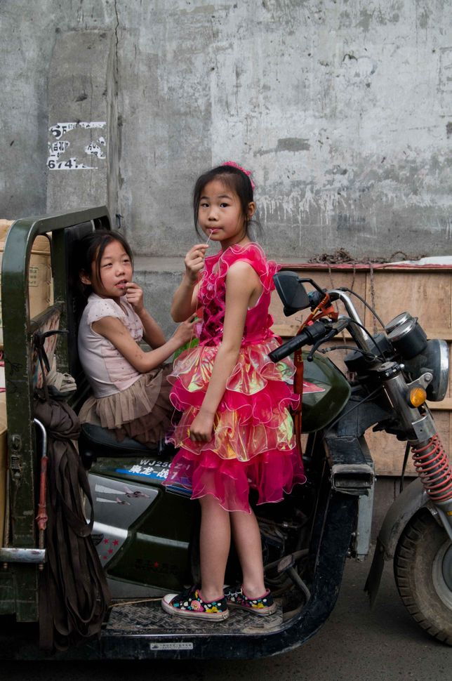 Girls on motocycle, Kashgar