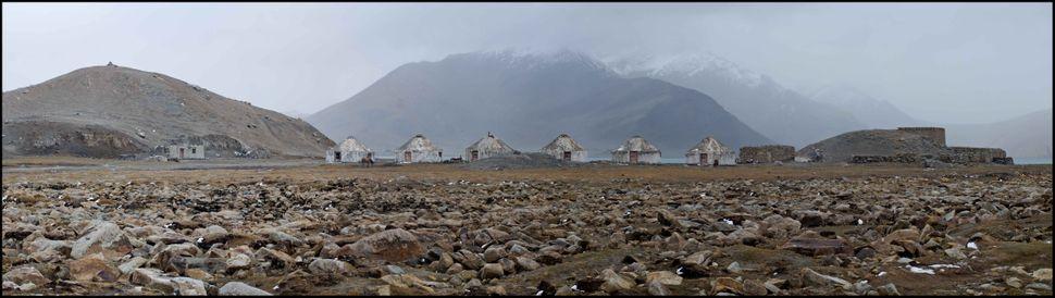 Karakul Lake concrete yurts