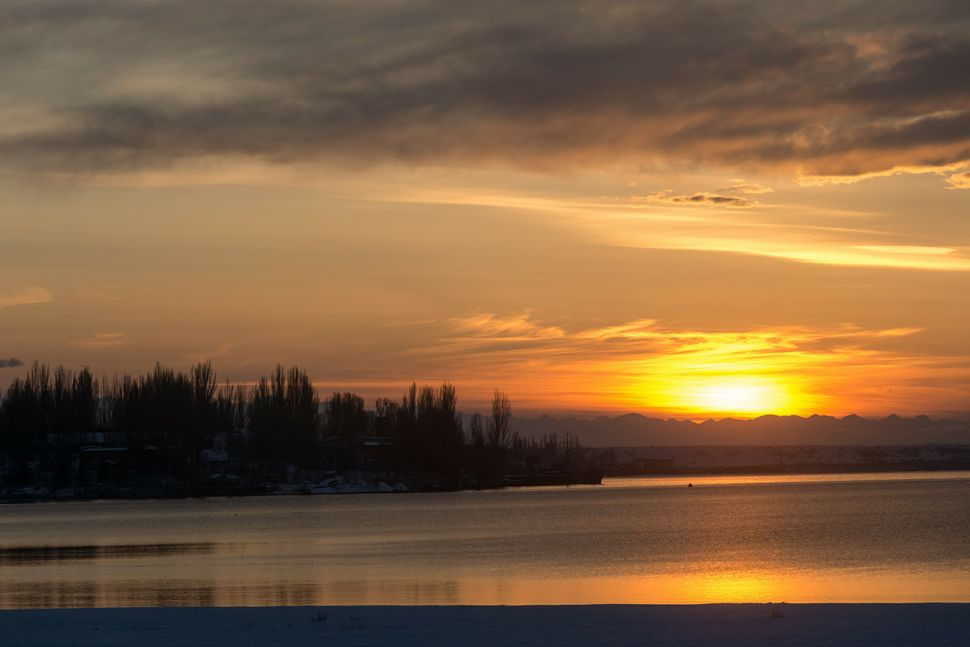 Sunset over Issyk-Kul