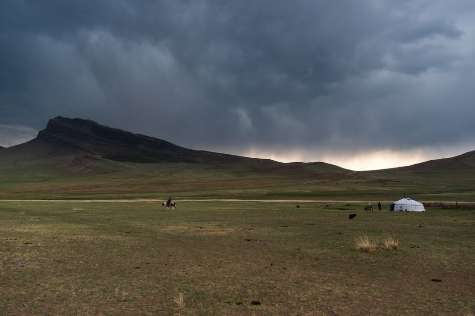 Countryside - Before the storm, rider, yurt and motorbike 2