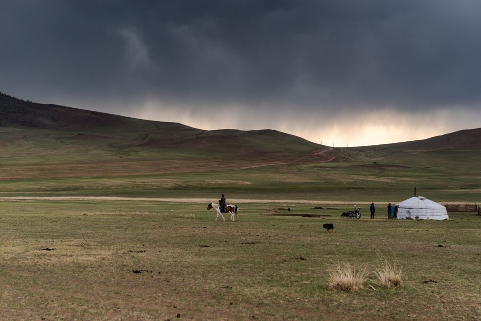 Countryside - Before the storm, rider, yurt and motorbike