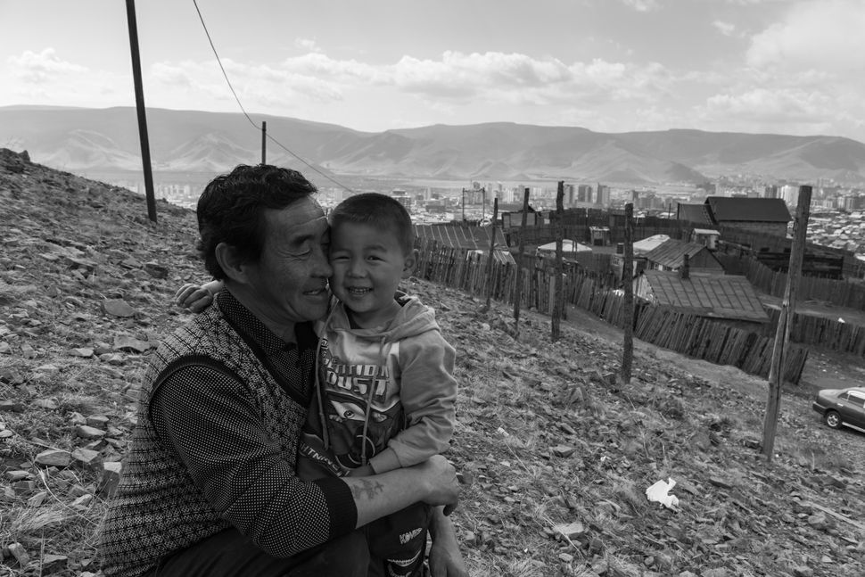 Ulan Bator - Ger district - Father and son