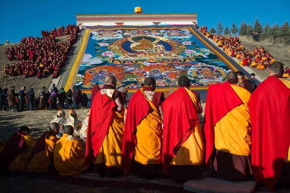 Monlam - Tibetan New Year 2018; Display of the thangka at Langmusi, Gansu, China