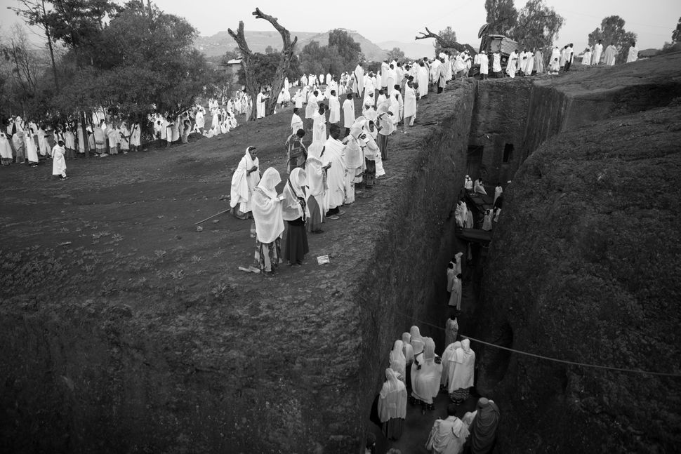 Believers listening to sermon on St. Michael´s Day, Lalibela