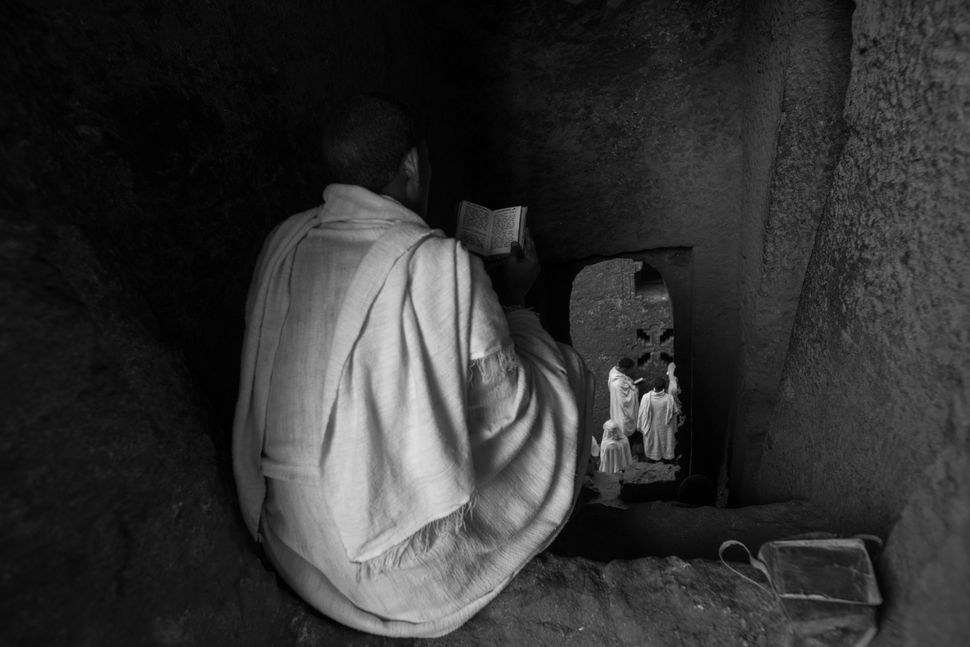 Believers praying on St. Michael´s Day, Lalibela
