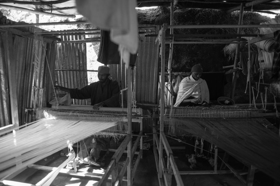 Monks weaving, Lalibela