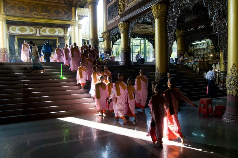 Monks inside Shwedagon Pagoda 2