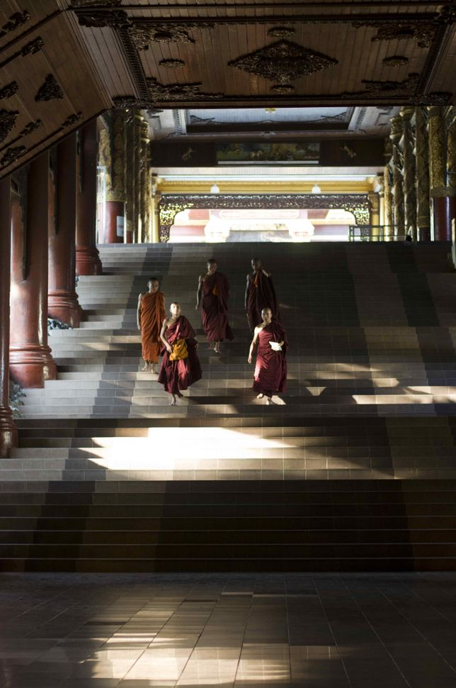 Monks inside Shwedagon Pagoda 3
