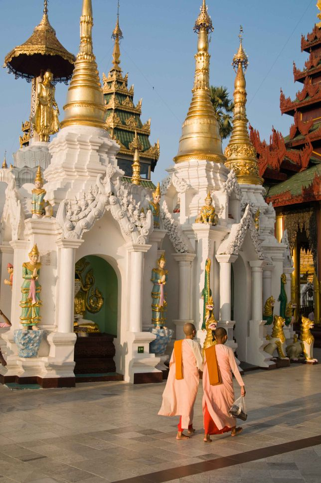 Monks inside Shwedagon Pagoda 6