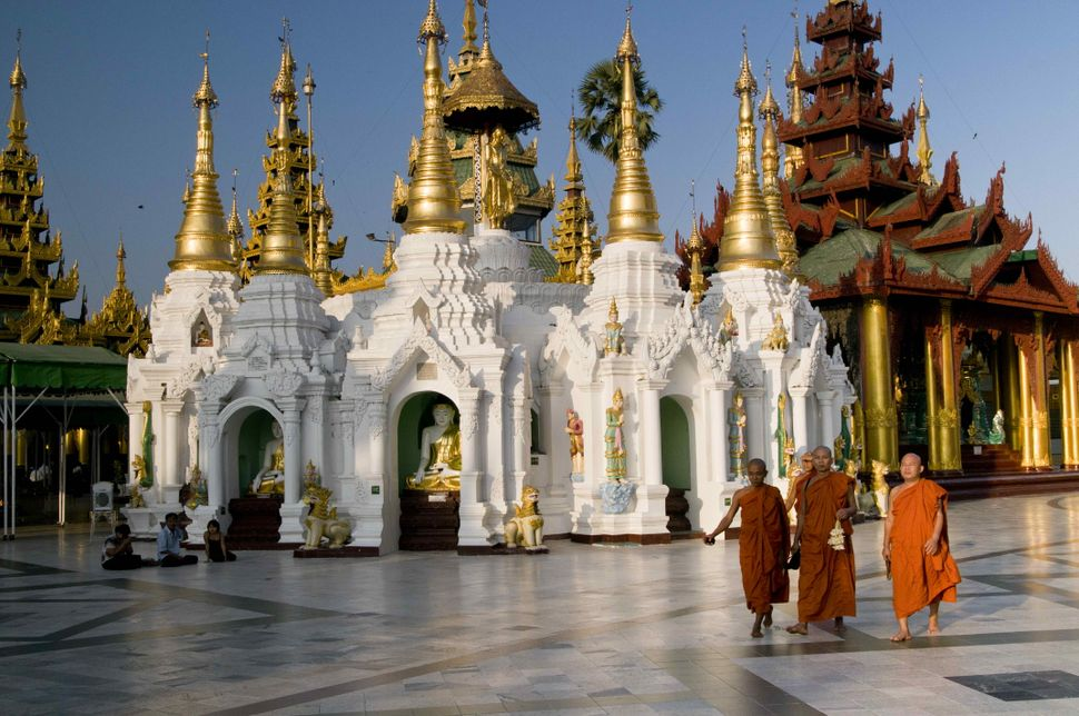 Monks inside Shwedagon Pagoda