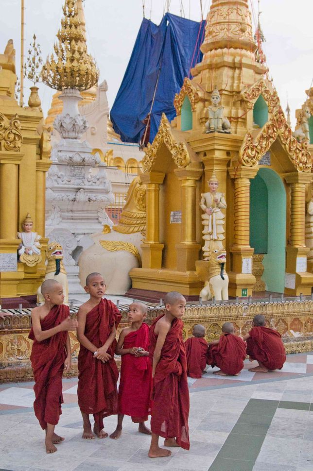 Novices inside Shwedagon Pagoda