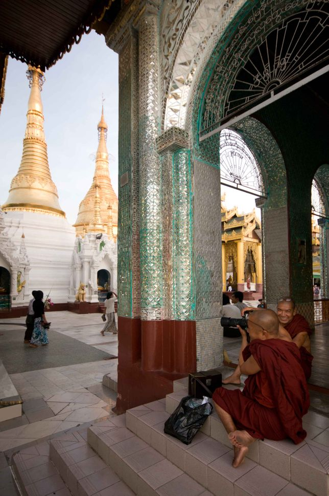 Photographer monks at Shwedagon Pagoda 2