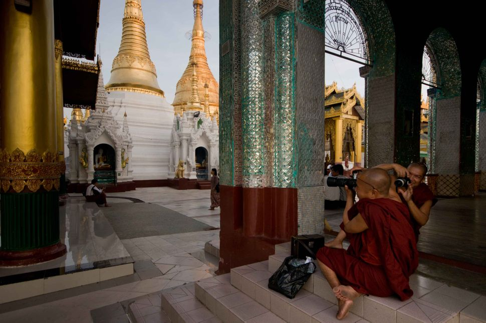Photographer monks at Shwedagon Pagoda
