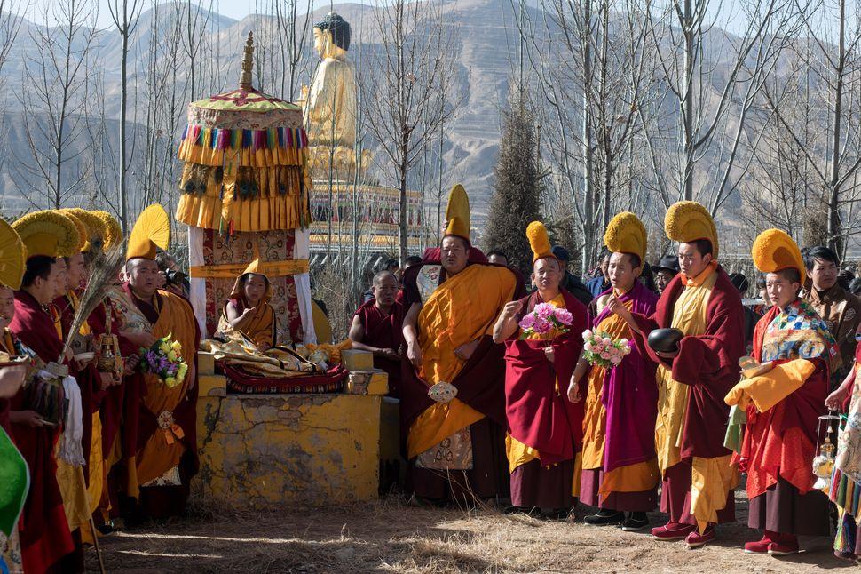 Thangka display in Sengshong Gaden Phuntsok Choeling Monastery, Rebgong, Qinghai