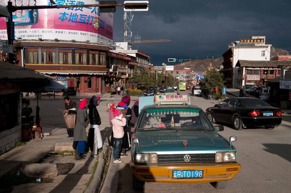 Dusk street scene with dark sky