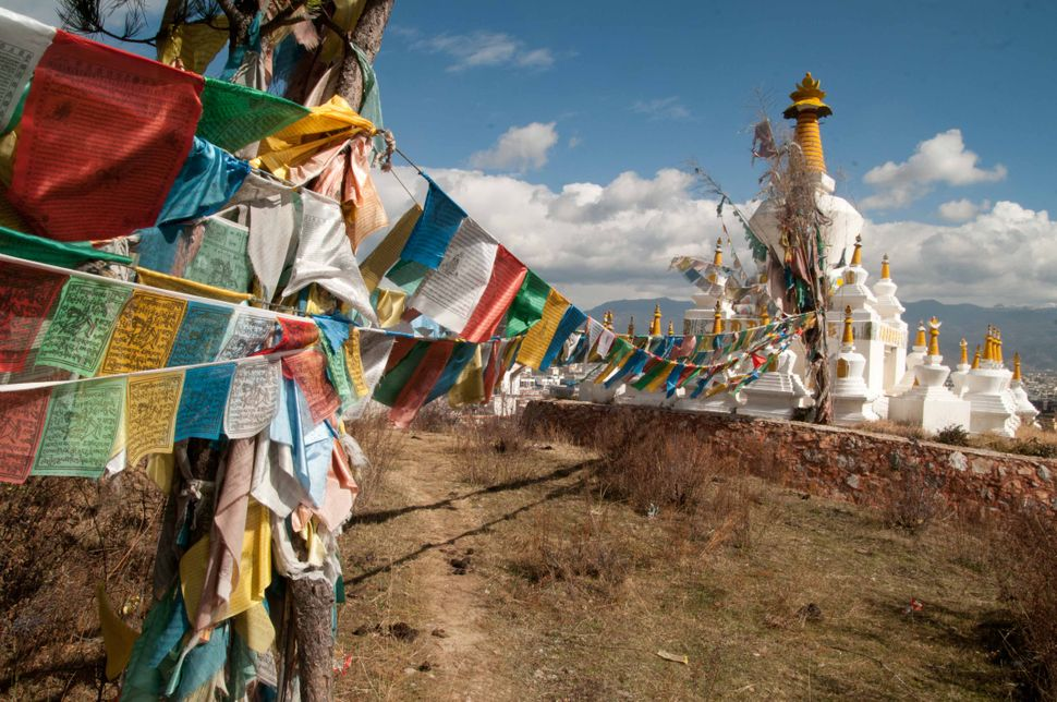 Tibetan flags and chorten