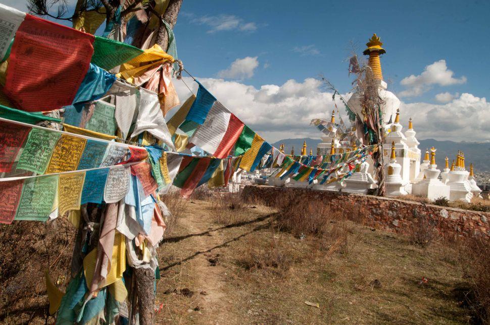 Tibetan flags and chorten