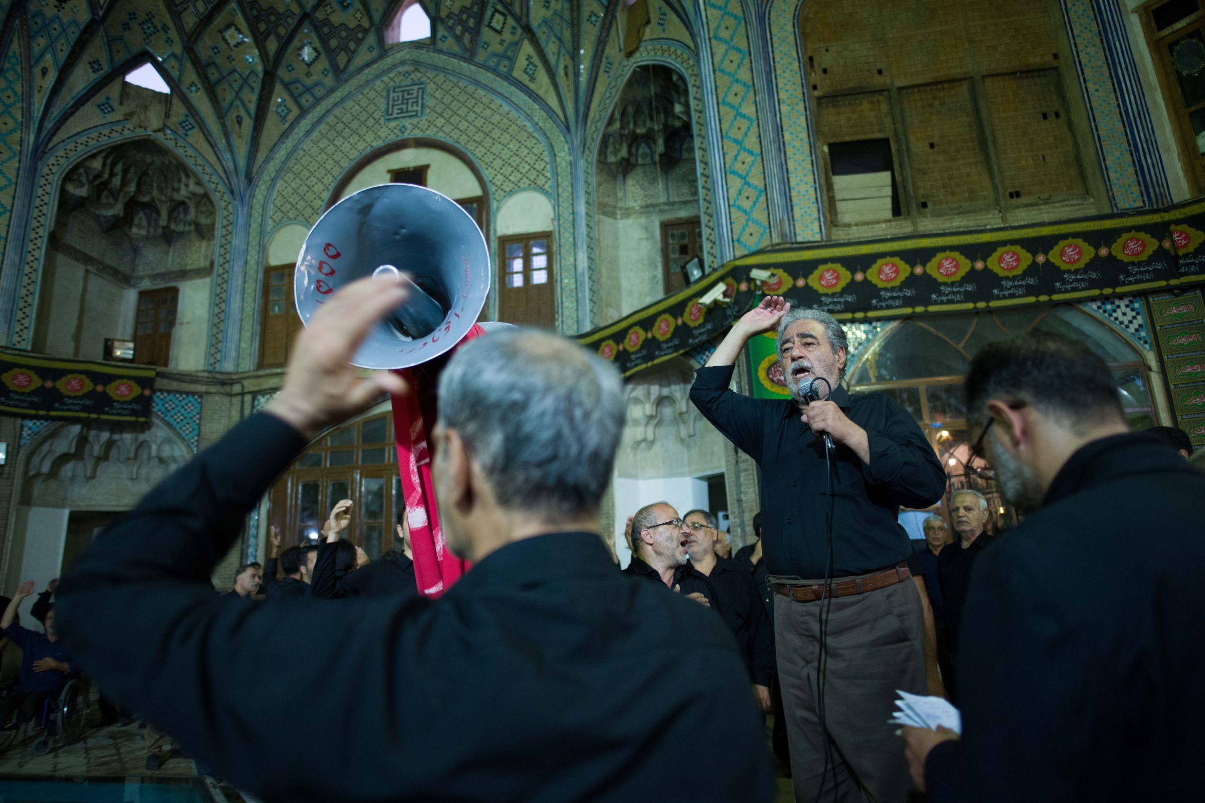 Ya Hossein chants. Kashan bazaar